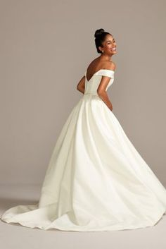 Off the Shoulder Satin Gown Petite Wedding Dress David s Bridal December Wedding Dresses, 2015 Wedding Dresses, Wedding Dress Styles, Bridal Dresses, Wedding Gowns, Wedding Lace, Mermaid Wedding, Wedding Flowers, Wedding Dress Chiffon