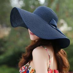 New Fashion Women Straw Floppy Hat Wide Brim Bow Foldable Sun Beach Cap  with String Chapéu e81e202b8ac