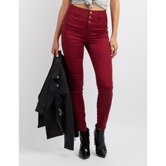 Refuge Hi-Waist Skinny Jeans ($33) ❤ liked on Polyvore featuring jeans, burgundy, stacked skinny jeans, stretchy jeans, high waisted skinny jeans, slim fit skinny jeans and stretchy high waisted jeans