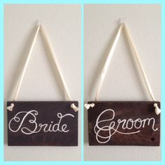 Set of 2 Bride and Groom Chair Signs/ Wedding by Lobsterbean, $20.00