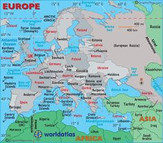 Large Map Of Europe | Large map of Europe, easy to read and printable