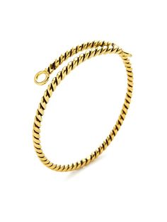 Fortune Favors the Brave Gold Rope Cuff Bracelet