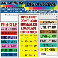 Tag-A-Room Color Coded Home Moving Box Labels with Door I