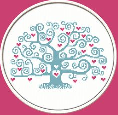 Blue Heart Tree PDF Downloadable Printable by CrossStitchDiver, $3.50
