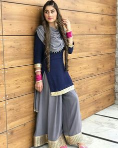 Items similar to navy blue colore designer suit bollywood style salwar kameez pakistani style salwar kameez plazzo dress on etsy. Punjabi Dress, Pakistani Dresses, Indian Dresses, Indian Outfits, Punjabi Suits, Western Dresses, Western Outfits, Suit Fashion, Fashion Dresses