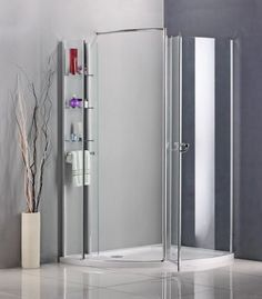 1150x800 Walk In Pivot Shower Enclosure Cubicle Stone Tray