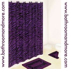 Purple Zebra Print Shower Curtain Bath Mat Set- This has been a great seller, hard to find in stores.