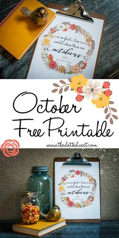 "October Anne of Green Gables Quote Free Printable ""I'm so glad I live in a world where there are Octobers"""