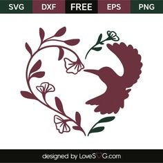*** FREE SVG CUT FILE for Cricut, Silhouette and more *** Floral heart and bird