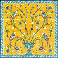 mosaic pic- another way to get rid of ugly part behind toilet Birds of paradise bathroom tile mural Painting Ceramic Tiles, Ceramic Wall Tiles, Tile Art, Mosaic Art, Mosaic Tiles, Painted Tiles, Art Ancien, Antique Tiles, Tile Murals