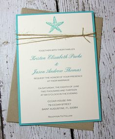 SAMPLE Starfish Wedding Invitations/Beach by TorisCustomCreations