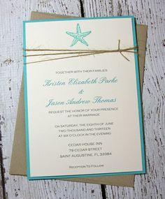 Teal Starfish Wedding Invitations/Beach by TorisCustomCreations