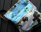 Leather Cross Forest Purse, Vintage Barkcloth, Fabric, Recycled, Bag, Green, Beige, Purple, Boho, Floral