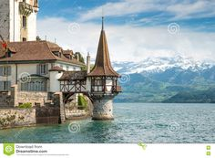 Oberhofen Castle In The Thun Lake In Switzerland - Download From Over 58 Million High Quality Stock Photos, Images, Vectors. Sign up for FREE today. Image: 72347528