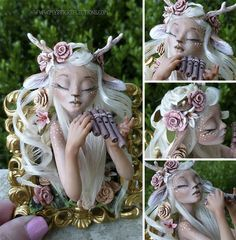 Fawn Framed Sculpture by MysticReflections on DeviantArt Polymer Clay Fairy, Polymer Clay Sculptures, Polymer Clay Dolls, Polymer Clay Projects, Polymer Clay Creations, Sculpture Clay, Toy Art, Steam Punk, Clay Fairies