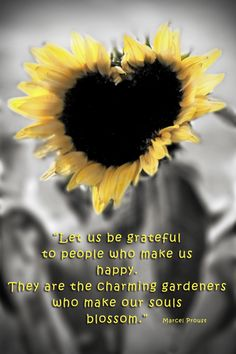 A heart-shaped sunflower and quote