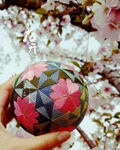 一念花开#手鞠 #手毬 #手まり #temariball #桜 #さくら #embroidery #craft