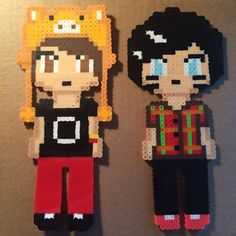 Perler Bead art of pixellized versions of YouTubers Dan Howell and Phil Lester :) Perler arts measure 4 1/2 in by 9 in These are custom made