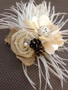 Ivory winter Wedding hair accessory Feather by PeacockPixys