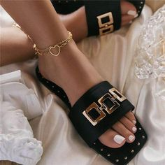Trendy Sandals, Sexy Sandals, Fashion Sandals, Wedge Sandals, Sandals Outfit, Rhinestone Sandals, Aesthetic Shoes, Kinds Of Shoes, Womens Slippers