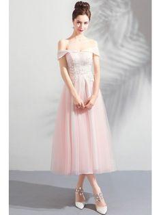 Gorgeous Pink Tulle Off Shoulder Tea Length Party Dress Off Shoulder Girls Bridesmaid Dresses, Prom Dresses, Formal Dresses, Wedding Store, Wedding Rentals, Pink Tulle, Lace Back, Tea Length, Wedding Planner