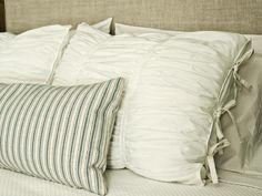 The bedroom decorating experts at HGTV.com share step-by-step instructions for turning inexpensive white cotton into designer look-alike ruched fabric pillow shams. --> http://www.hgtv.com/design/rooms/bedrooms/how-to-sew-ruched-fabric-pillow-shams?soc=pinterest