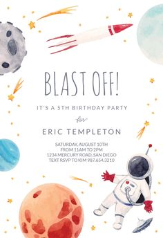 Outer Space invitation template. Customize, add text and photos. Print, download, send online for free! #birtdhdaycards #birthdayinvitations #freeprintables #freetemplates #freecards #birthdayparty #invitations #printable #diy #template #birthday #party #astronautparty #astronomyparty