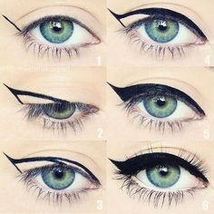 Cat eye cheat sheet  Some of you have been telling me you have problems creating a wing and asking for tips so here is a little hack that might help! I did this pictorial awhile ago and it's all around the Internet, but for those who haven't seen it yet I hope you find it helpful! Thank you @buzzfeed for the features too!