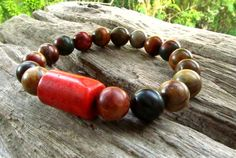 Picasso Jasper & Red Coral Beaded Bracelet / Mala by cainersbliss