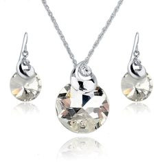 Green Austrian Crystal Jewelry Sets Silver Plated Necklace Earrings Set For Women Wedding Jewelry Set SET140043