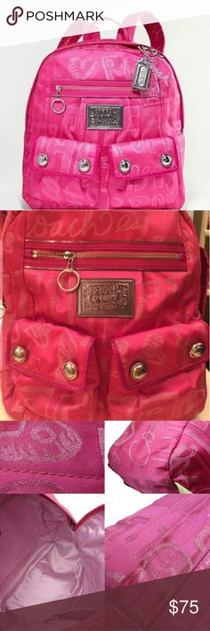 coach poppy pink book bag coach poppy pank bookbag preloved priced accordingly if you need additional photos please ask Coach Bags Backpacks