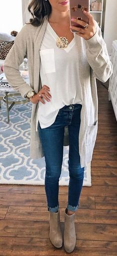 #fall #outfits women's grey long-sleeved cardigan #fallwomenclothing