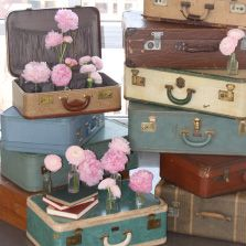 Suitcases and peonies - love!