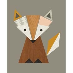 Geometric Fox Canvas