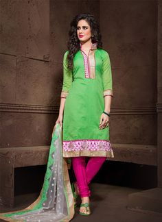 Make the heads flip when you costume up in this kind of a attractive green chanderi cotton churidar salwar kameez. The incredible dress creates a dramatic canvas with amazing embroidered and lace work...
