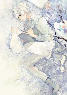 Anime white hair boy with bunny and paint cuz he cute Manga Boy, Manga Anime, Anime Art, Boy Character, Character Design, Anime White Hair Boy, Boy Hair Drawing, Anime Boy Zeichnung, Photo Manga