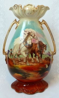 Victorian Vase With Horses