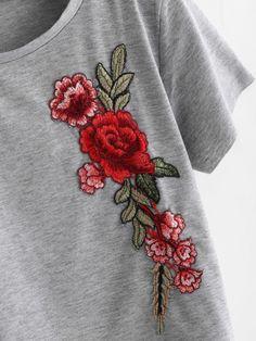 Embroidered Applique Raw Trim Crop Marled T-shirt -SheIn(Sheinside)