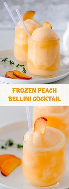 Frozen Peach Bellini Cocktail – Light, refreshing and super easy to make! This elegant cocktail slush will be a hit for any summer party. All you need is 3 ingredients and 5 minutes – So simple and easy! Cocktail Drinks, Cocktail Recipes, Alcoholic Drinks, Beverages, Peach Drinks, Fancy Drinks, Yummy Drinks, Frozen Cocktails, Gourmet
