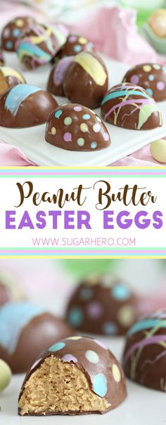 Now you can make your own Peanut Butter Easter Eggs at home! They're fun, colorful, and taste WAY better than the store-bought version! | From SugarHero.com