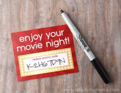 Free Printable Redbox Card gift idea #giftidea