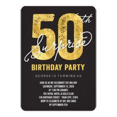 Gold Foil 50th Surprise Birthday Party Invite Custom Invite Invitation Card designed by fatfatin @Zazzle