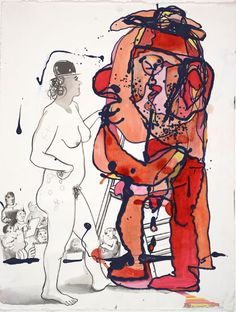 Nicole Eisenman, Celeste and Ulrika, ink, enamel, and gesso on paper; courtesy the artist Marcelle Ferron, Wilhelm Sasnal, Rose Wylie, Luc Tuymans, Marlene Dumas, Anni Albers, Expressionism, Contemporary Paintings, Art Forms