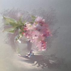 This peaceful painting creates harmony. The soft colors and the blending brush strokes of the watercolor paints make this floral painting feel peaceful and relaxing.