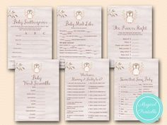 owl baby shower game printable, woodland baby shower game printable tlc401