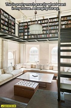 Just build a tall house and have the library around the top of the room with a ladder on rollers!!