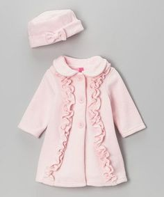 Pretty pink ruffled coat & bow hat.