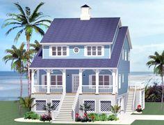 2093 sq ft, 5 Bedroom Beach Cottage - 46232LA Narrow Lot, 2nd Floor Master Suite, Corner Lot | Architectural Designs