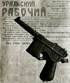 Russian official newspaper issued by The Bolsheviks, 'The Ural Worker' of 1918, that announced the shooting of Nikolay II and sending to exile (!) all his family members, and the gun, from which Nikolay II was shot.    Moscow ITAR-TASS