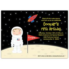 Little Astronaut Brunette Birthday Party Invitations